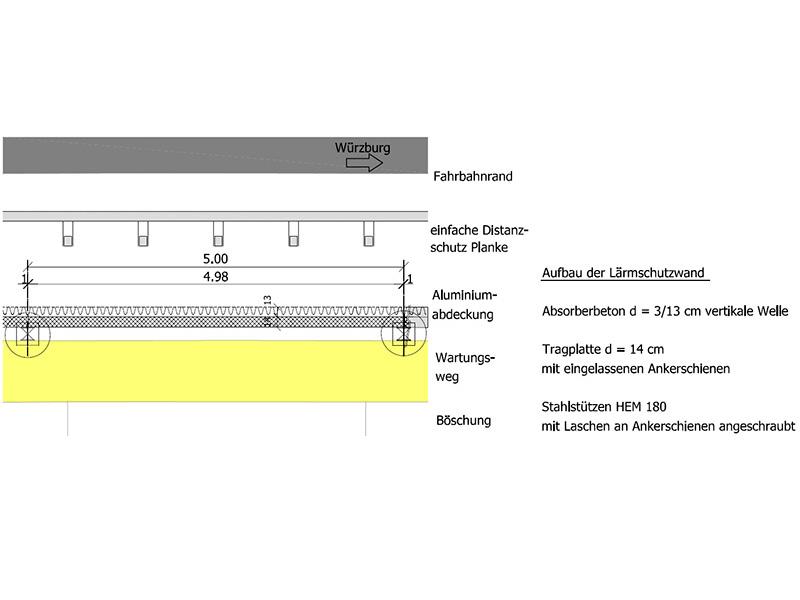 Tief- und Ingenierbau, Tiefbau, Ingenieurbau, Lärmschutzwand, Verkehrssicherung, Tiefgründung, Objektplanung, Tragwerksplanung, A3 Altdorf OT Schleifmühle