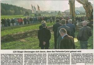 Spatenstich Feriendorf Obernsees Zeitungsartiel Nordbayerischer Kurier 15.11./16.11.2014